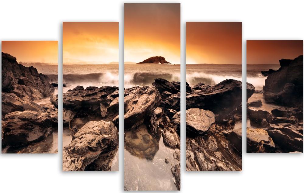 Meerluik schilderij zonsondergang strand 100x150