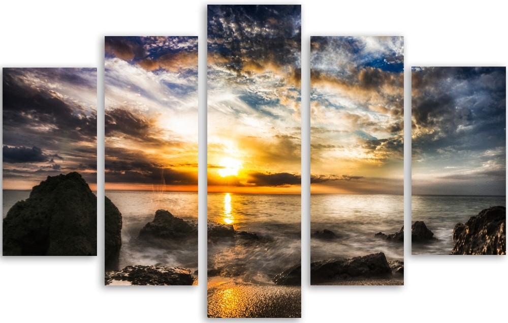 Meerluik fotokunst ondergaande zon 100x150