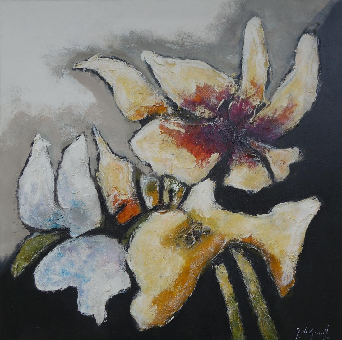 Schilderij bloemen 120x120