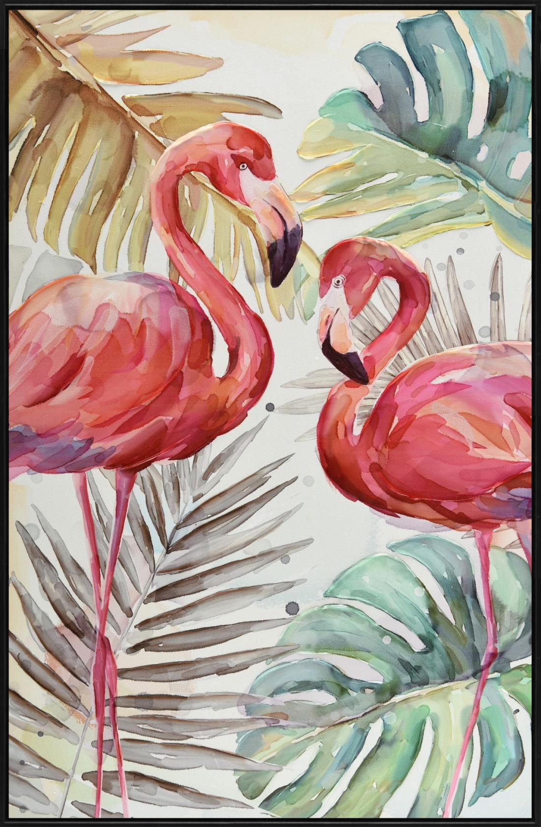 Schilderij flamingo's 82x122