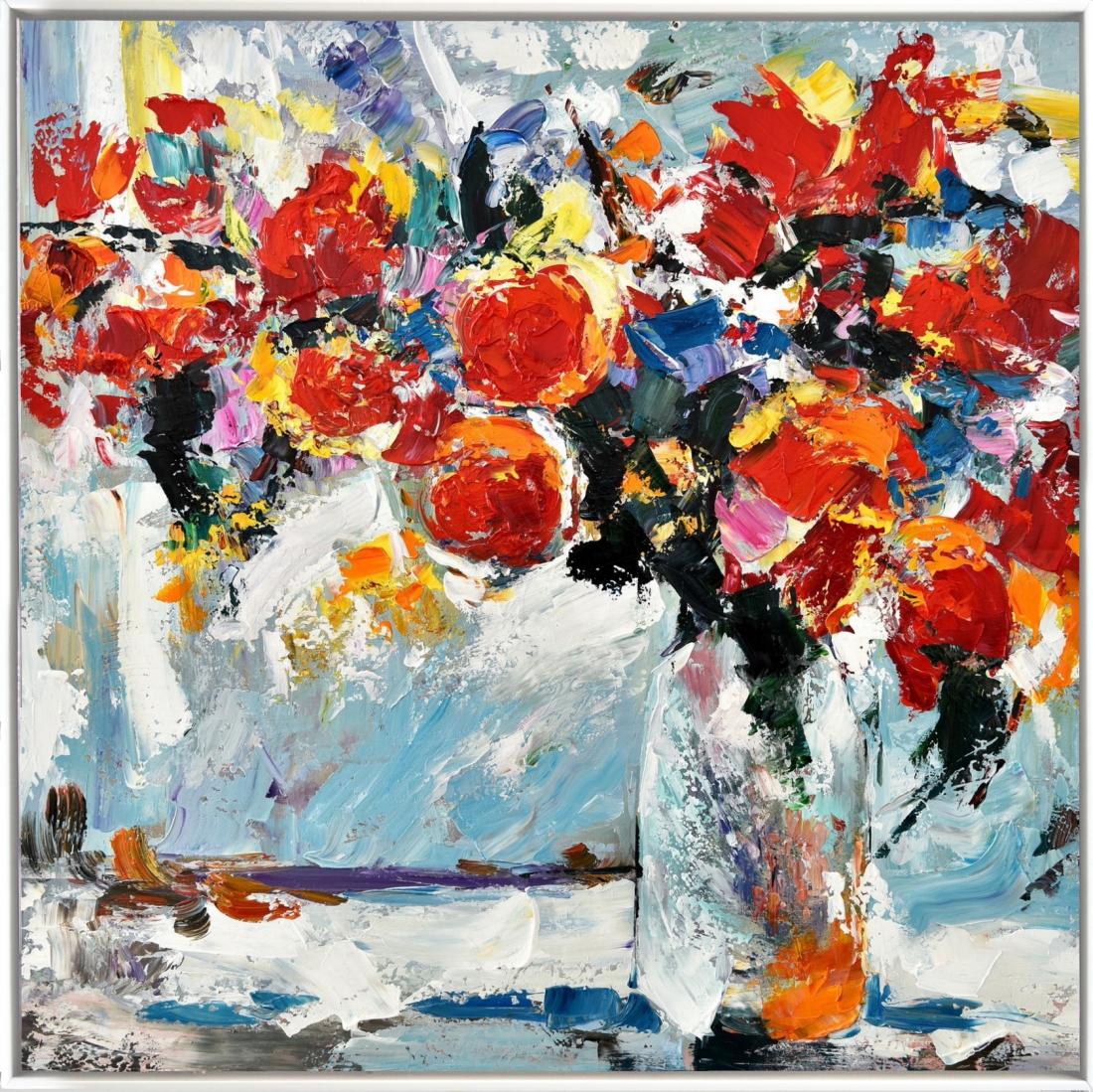 Schilderij bloemen in vaas 122x122