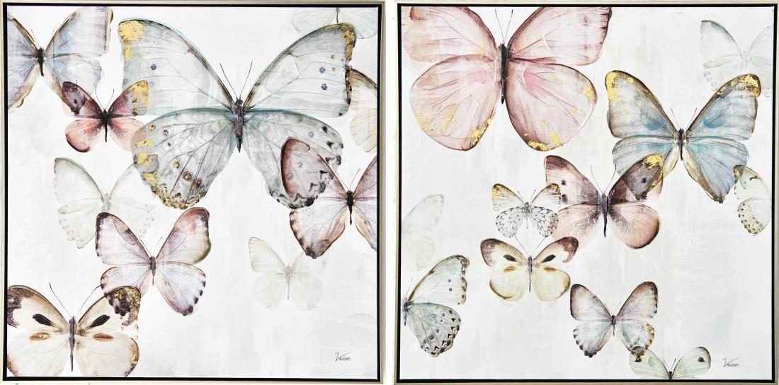 Schilderijen set vlinders 2x 82x82