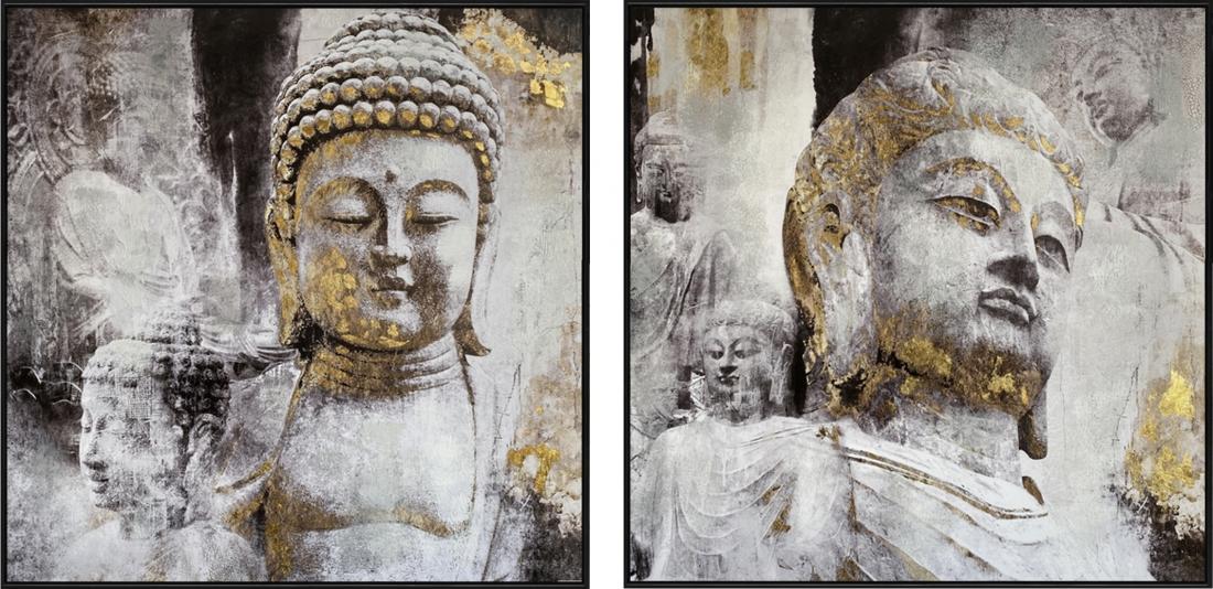 Schilderijen set boeddha 2x 102x102 set prijs