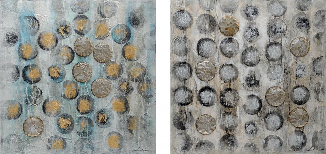 Schilderijen set abstracte cirkels 2x 100x100
