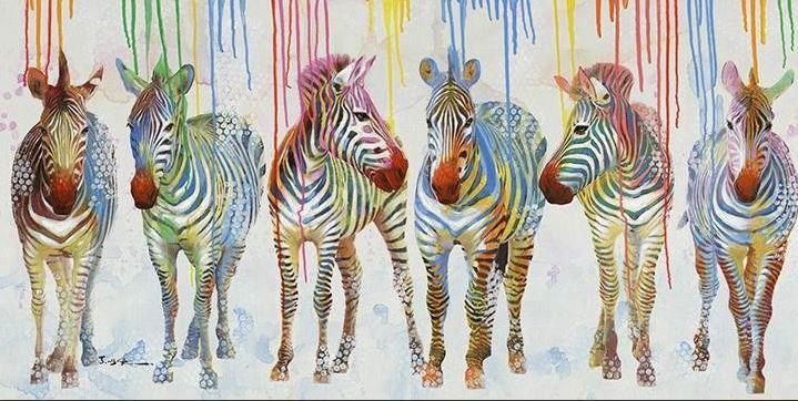 schilderij zebra's 70x140