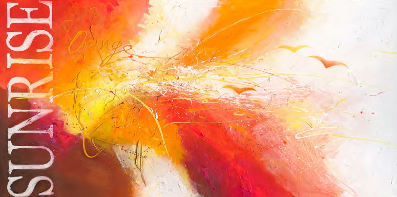 Schilderij abstract sunrise 90x180