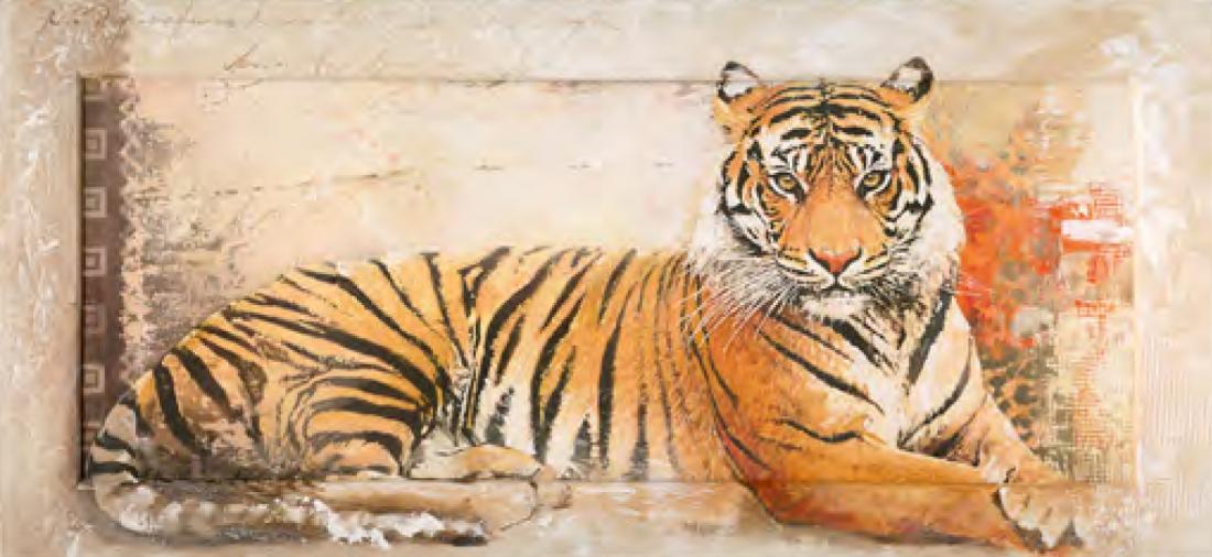 schilderij 55x115 tijger