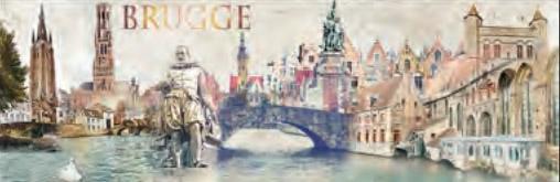 Schilderij Brugge 60x180