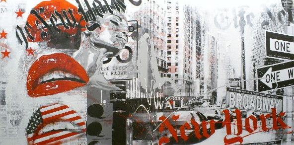 Schilderij New York 90x180