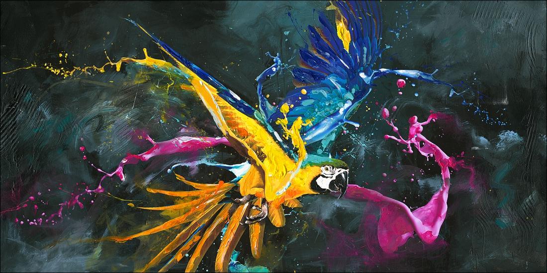 schilderij papegaai 60x120