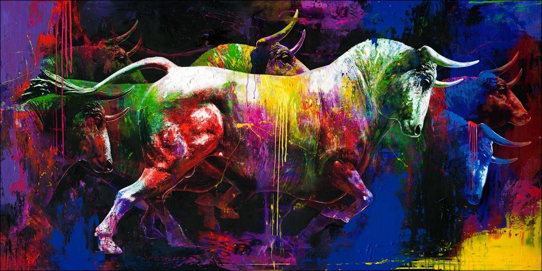 Schilderij stier 90x180