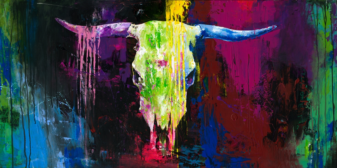 schilderij schedel 60x120