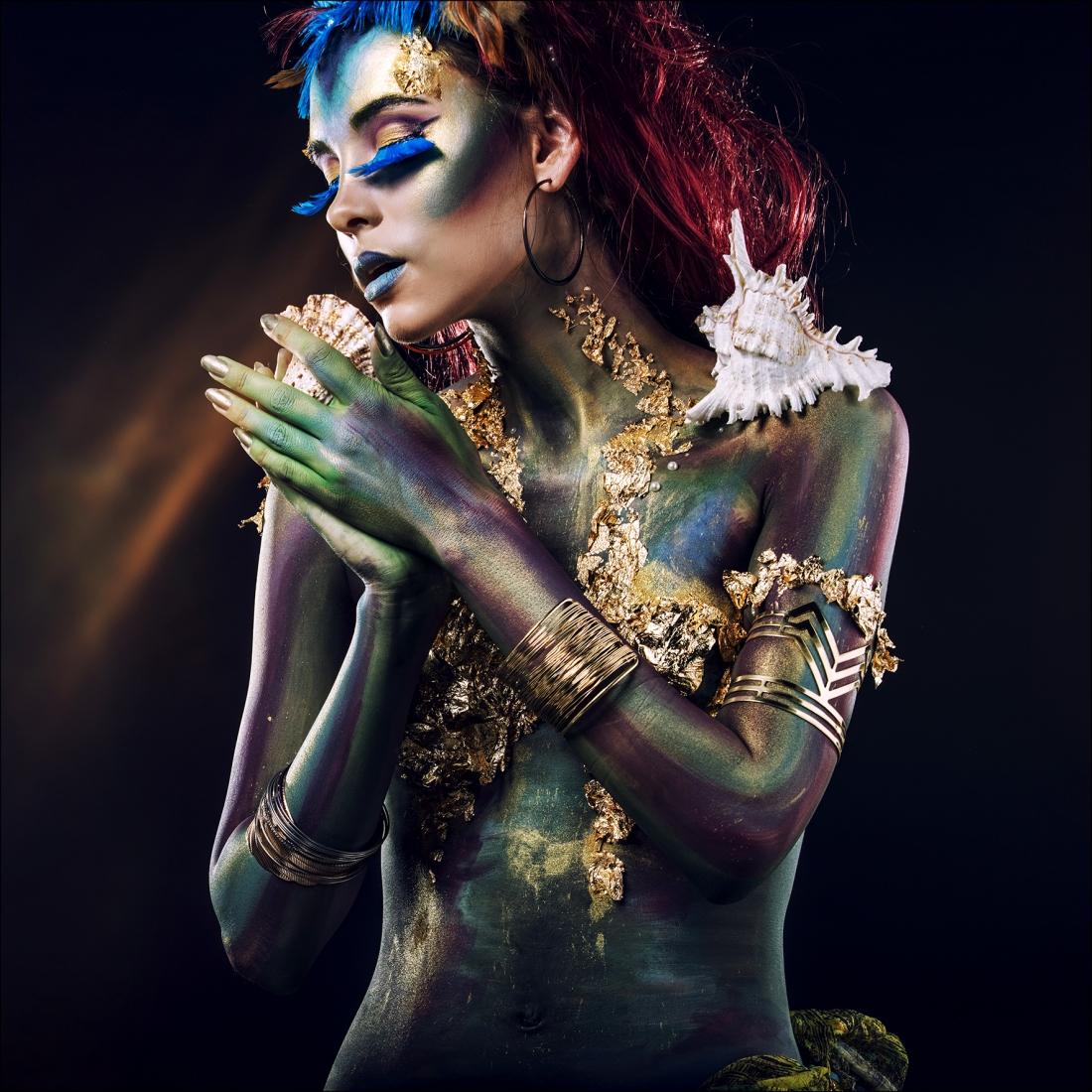 100x100 Acrylglas vrouw met schelp