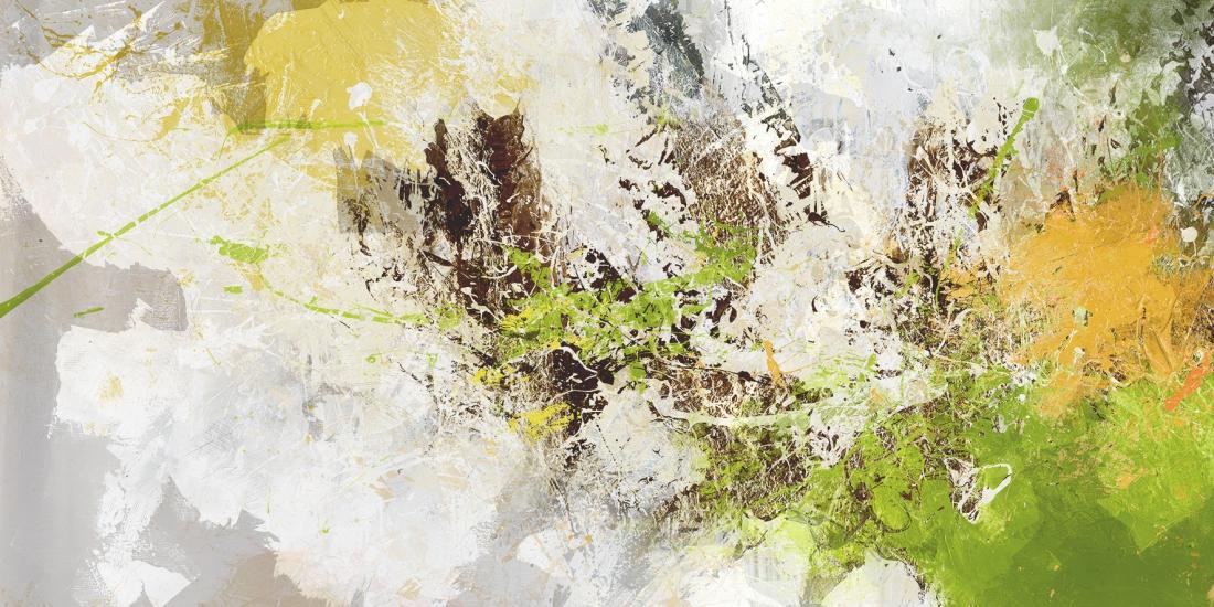 abstract groen op geborsteld aluminium 100x200
