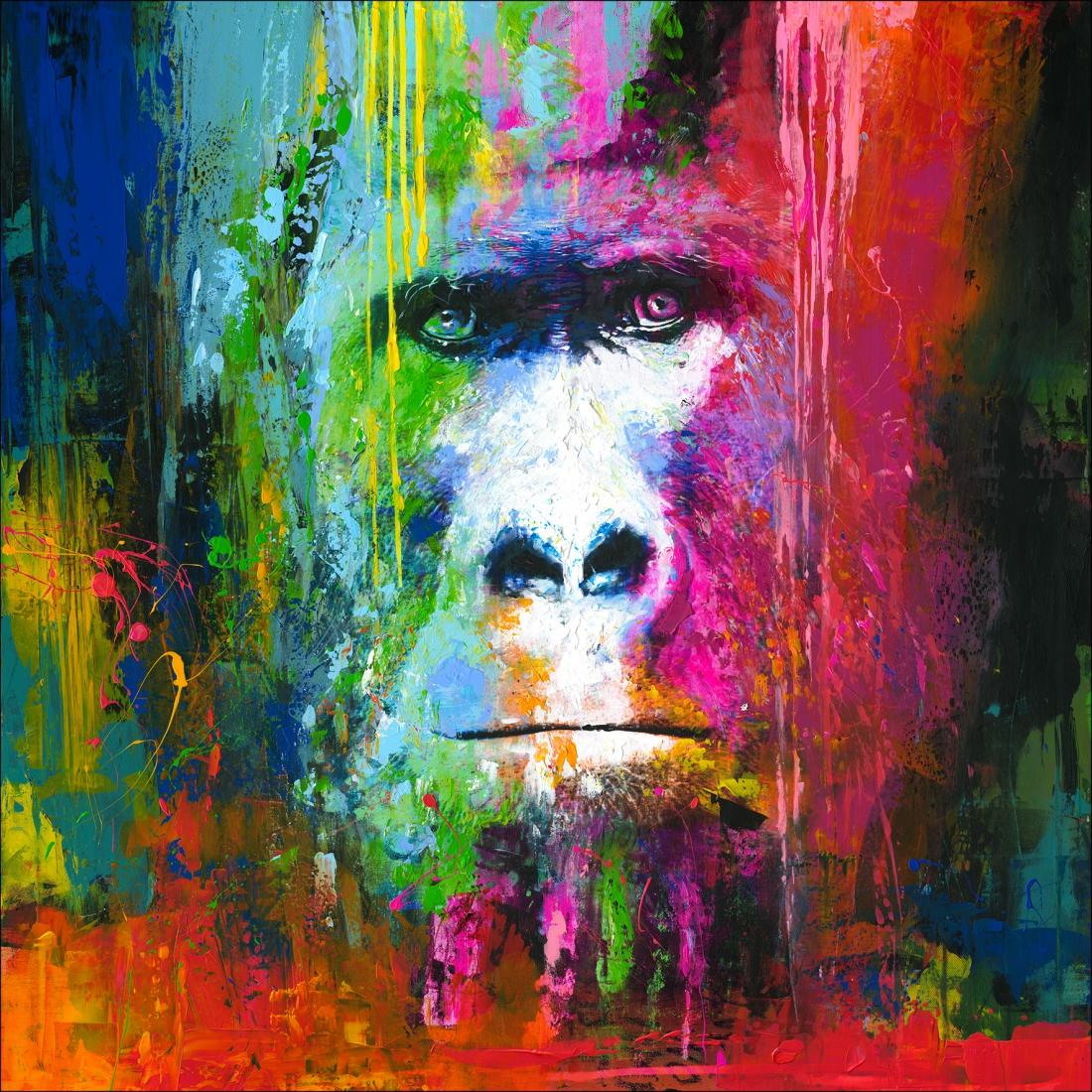 Schilderij gorilla 100x100