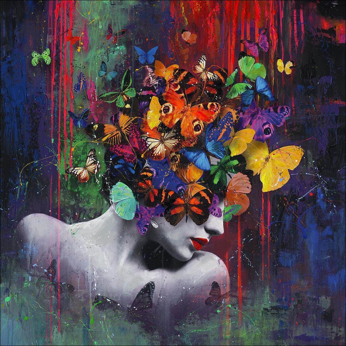 Schilderij vrouw met vlinders 100x100