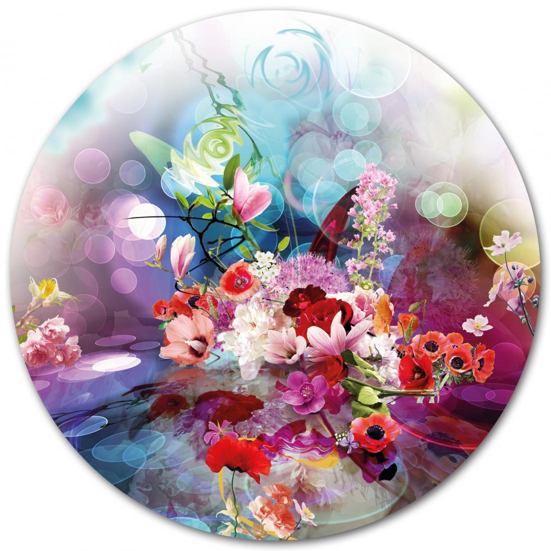 bloemen 100x100 rond plexiglas