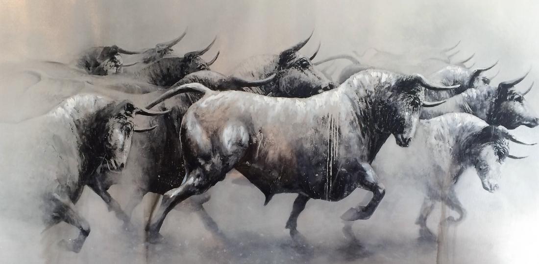 Schilderij stieren 90x180