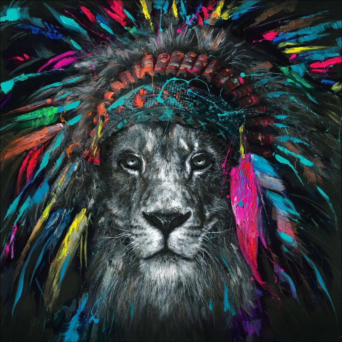 schilderij fleurige leeuw 100x100