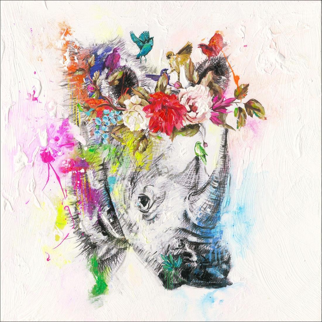 schilderij neushoorn 40x40