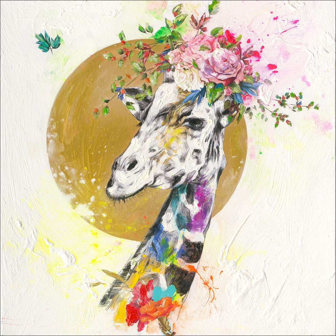 schilderij giraffe 40x40