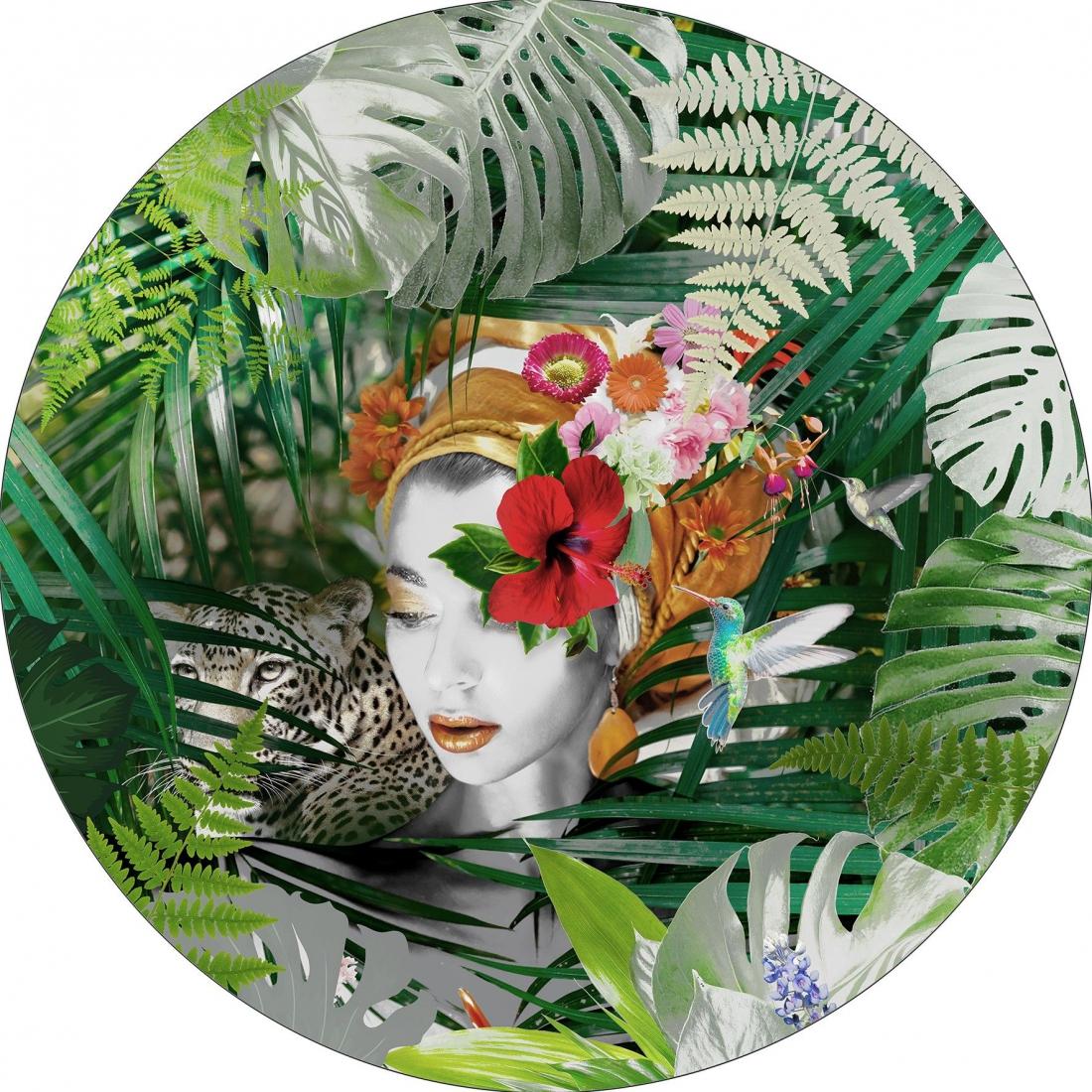 Dibond vrouw botanisch rond 100x100