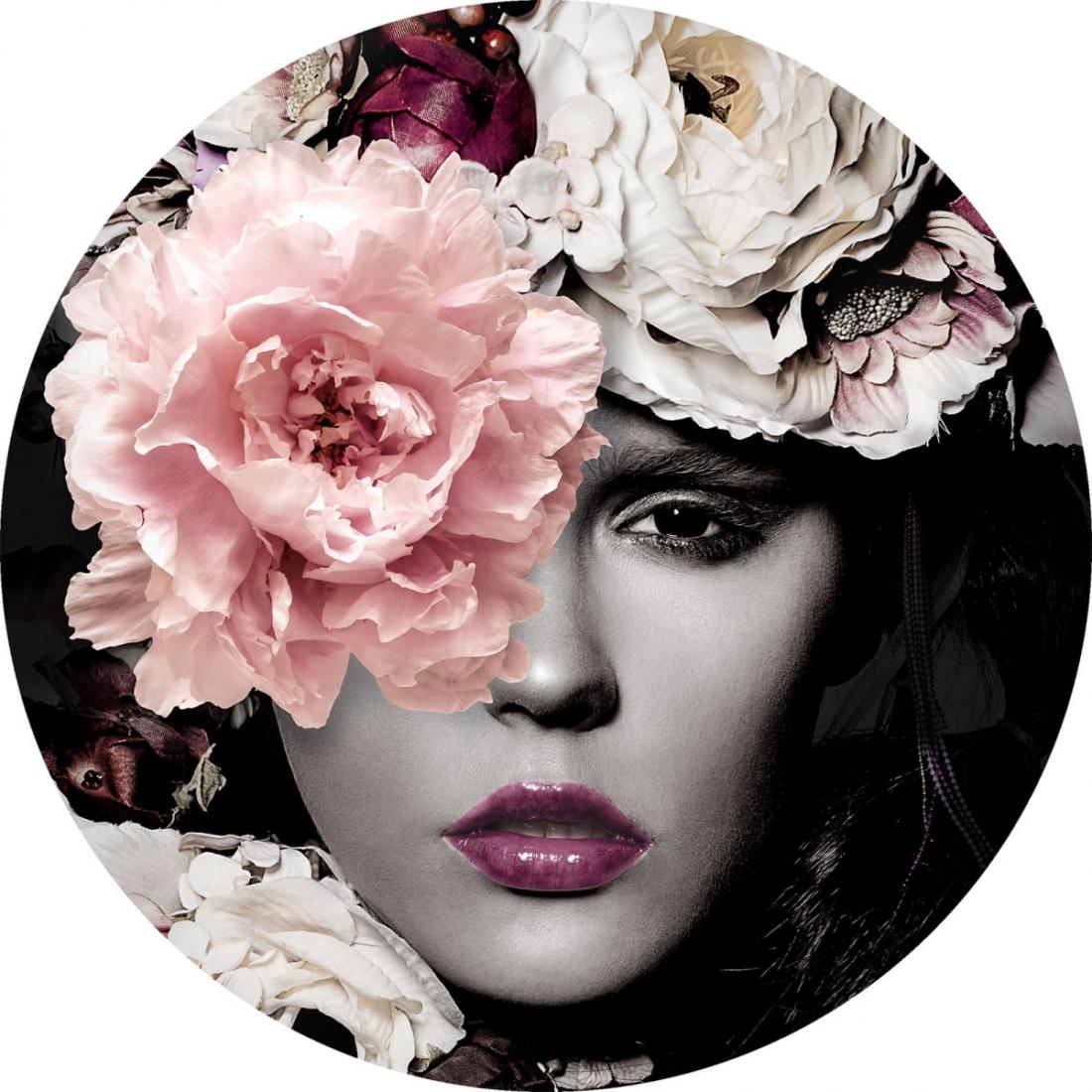 Fotokunst rond vrouw met bloemen glas 50x50