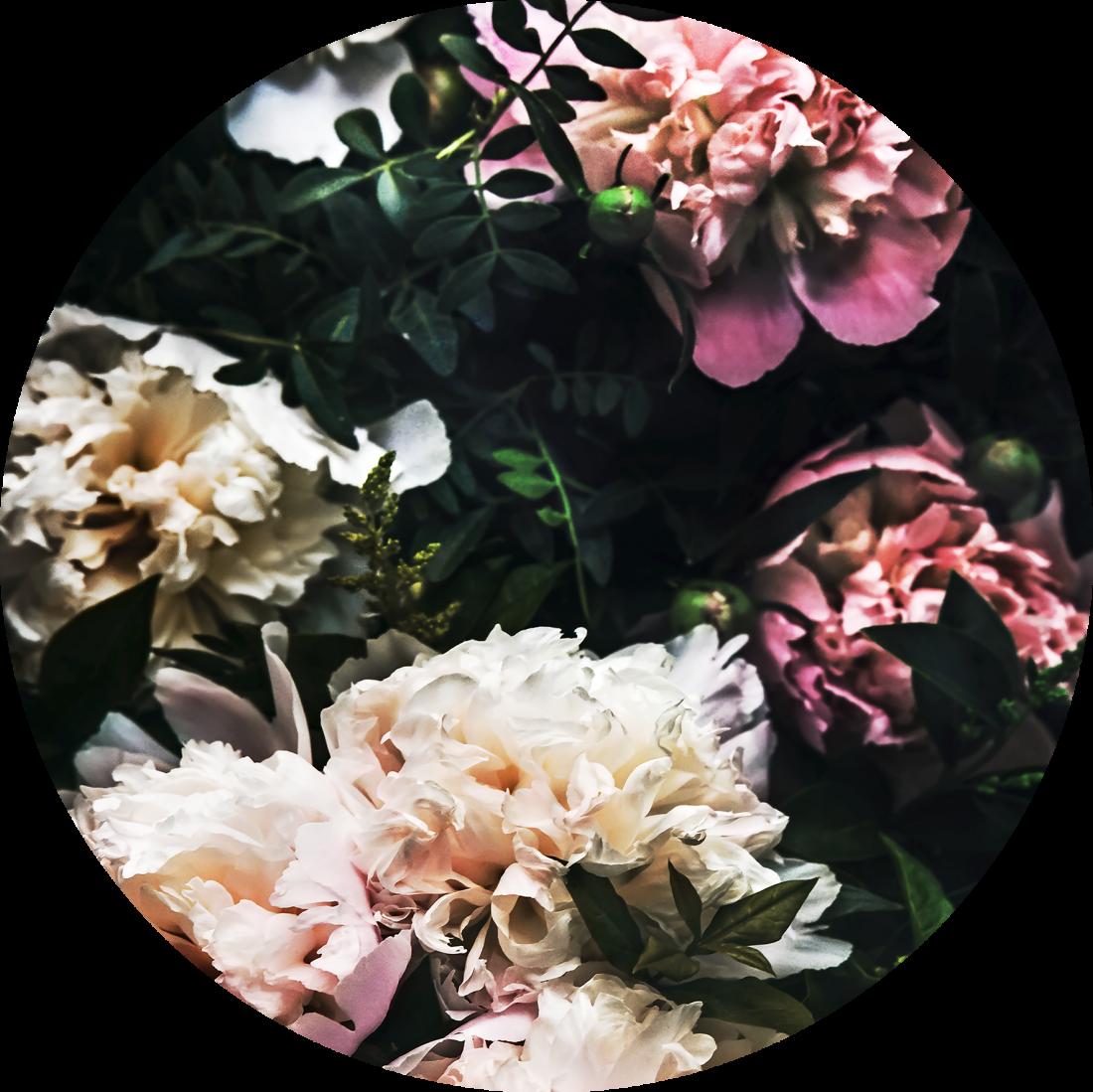 Fotokunst rond kleurrijke bloemen glas 50x50