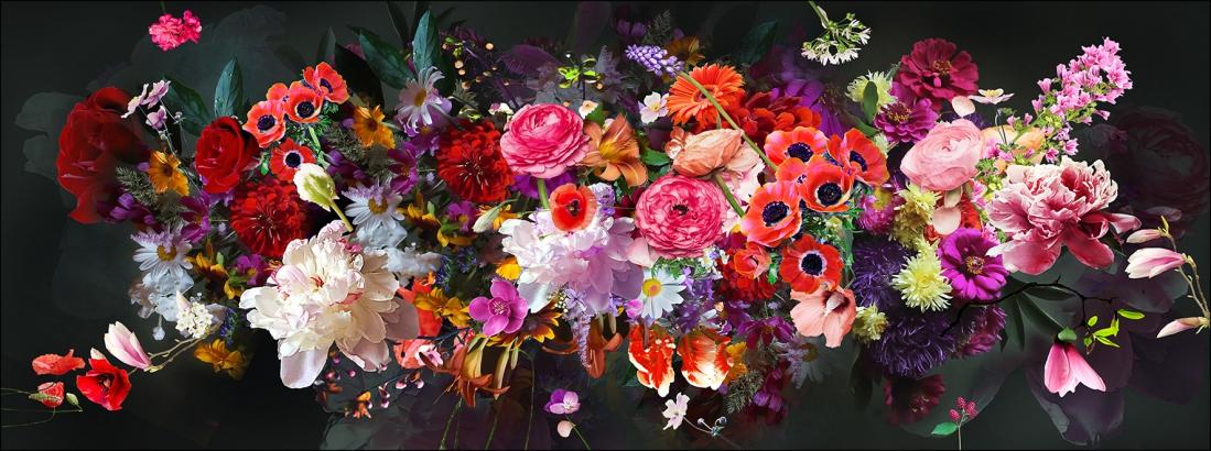 Fotokunst glas kleurrijke bloemen 50x125