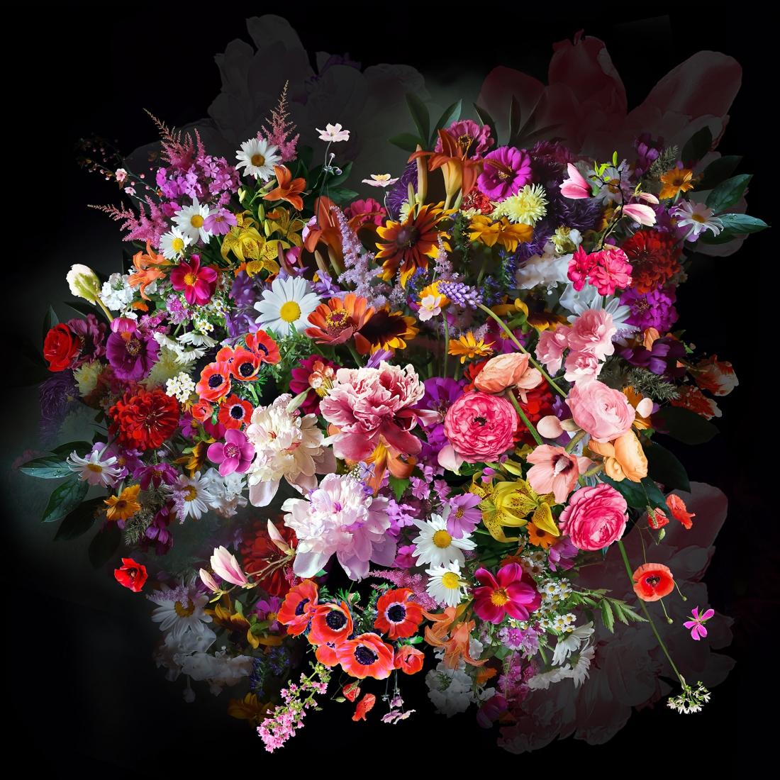 Fotokunst glas kleurrijke bloemen 80x80