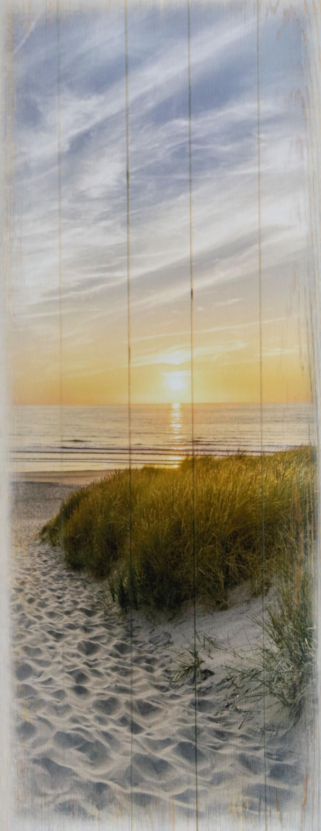 Schilderij fotokunst strand op hout 50x125