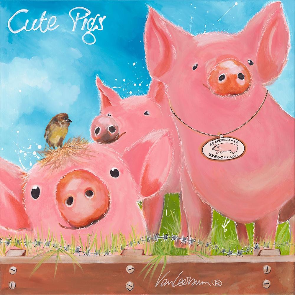 El van Leersum origineel 'Cute pigs' 80x80