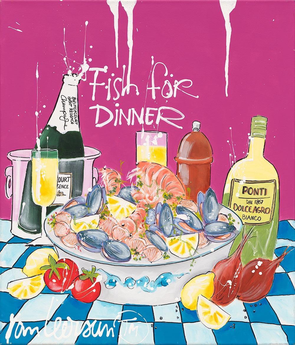 Schilderij El van Leersum Fish for dinner 60x70
