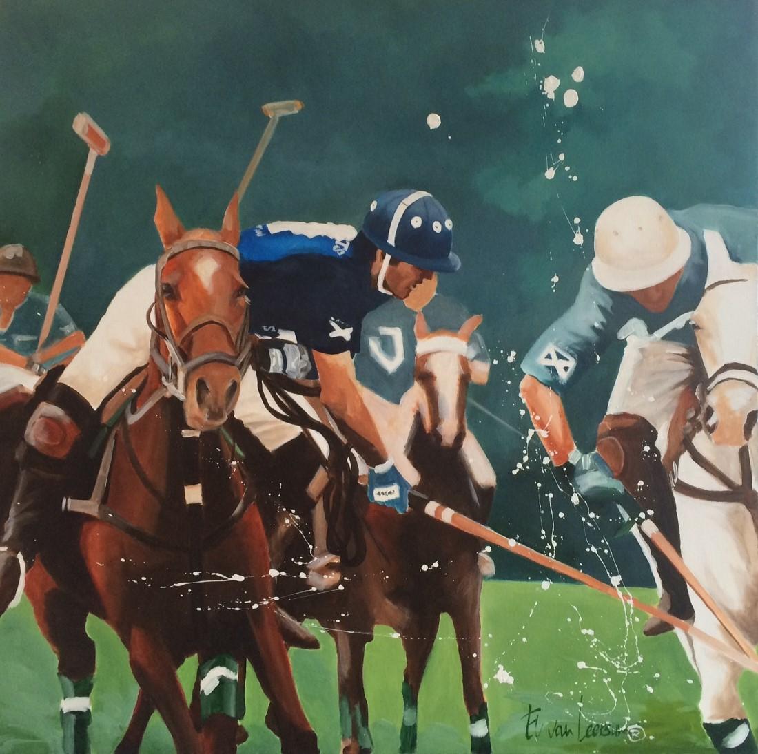 Origineel El van Leersum Polo schilderij 100x100
