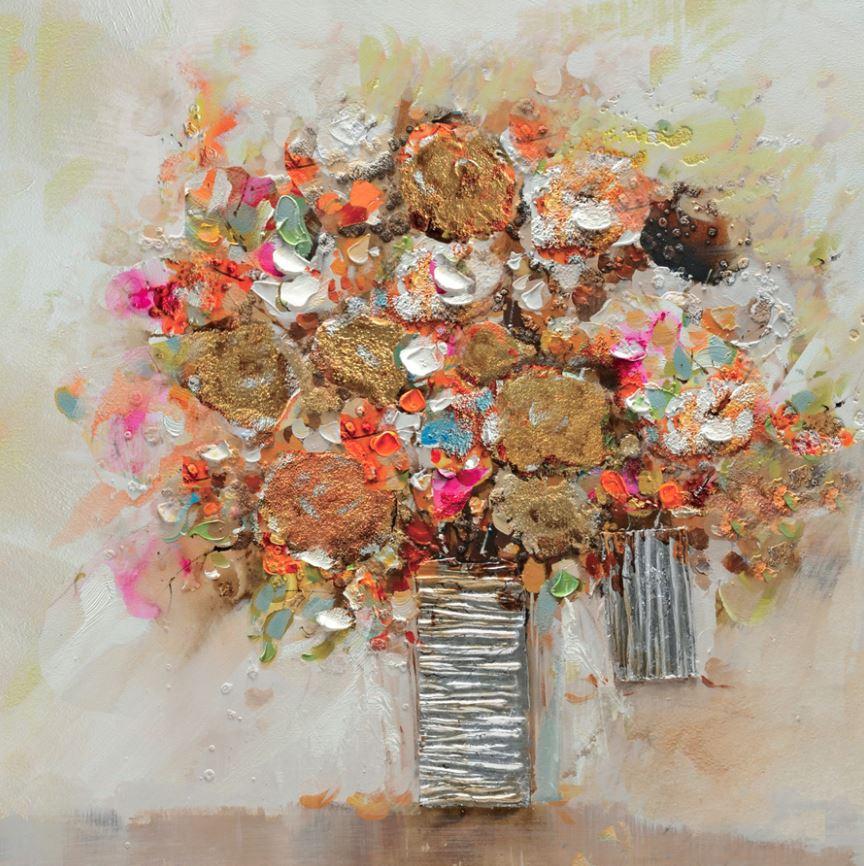 schilderij bloemen in vaas 60x60