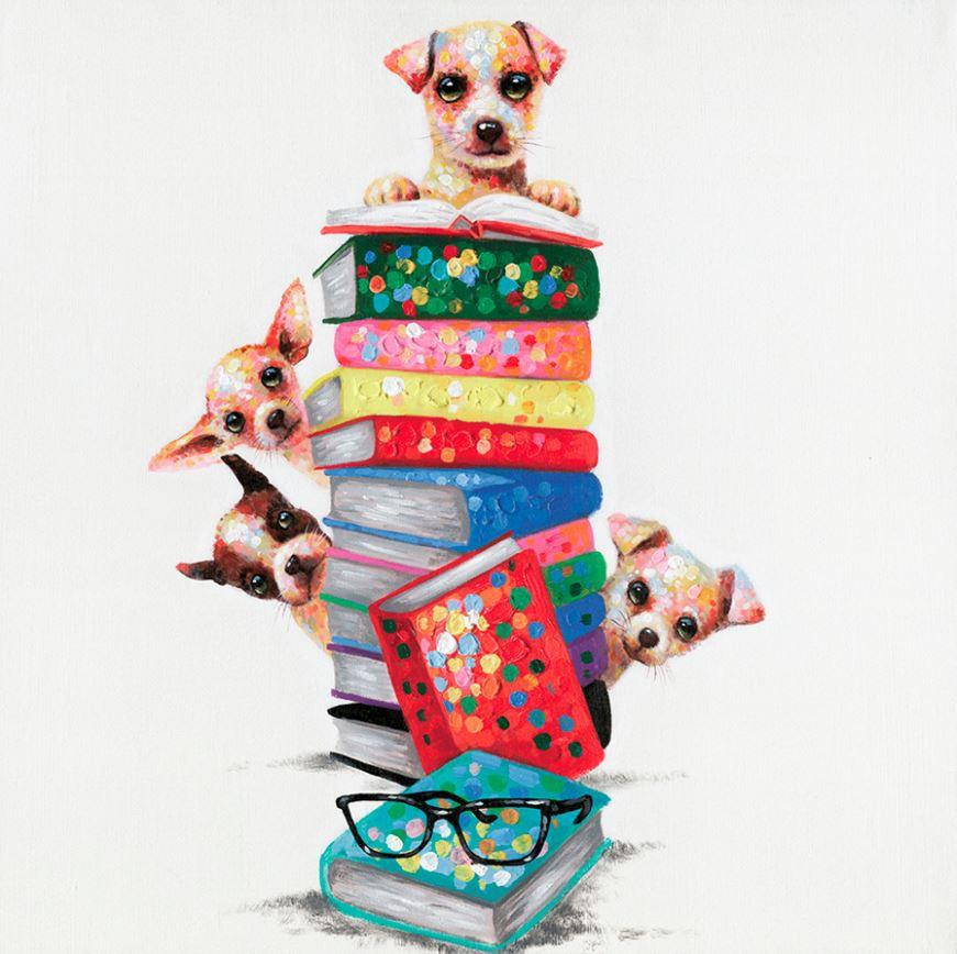 schilderij hondjes 80x80