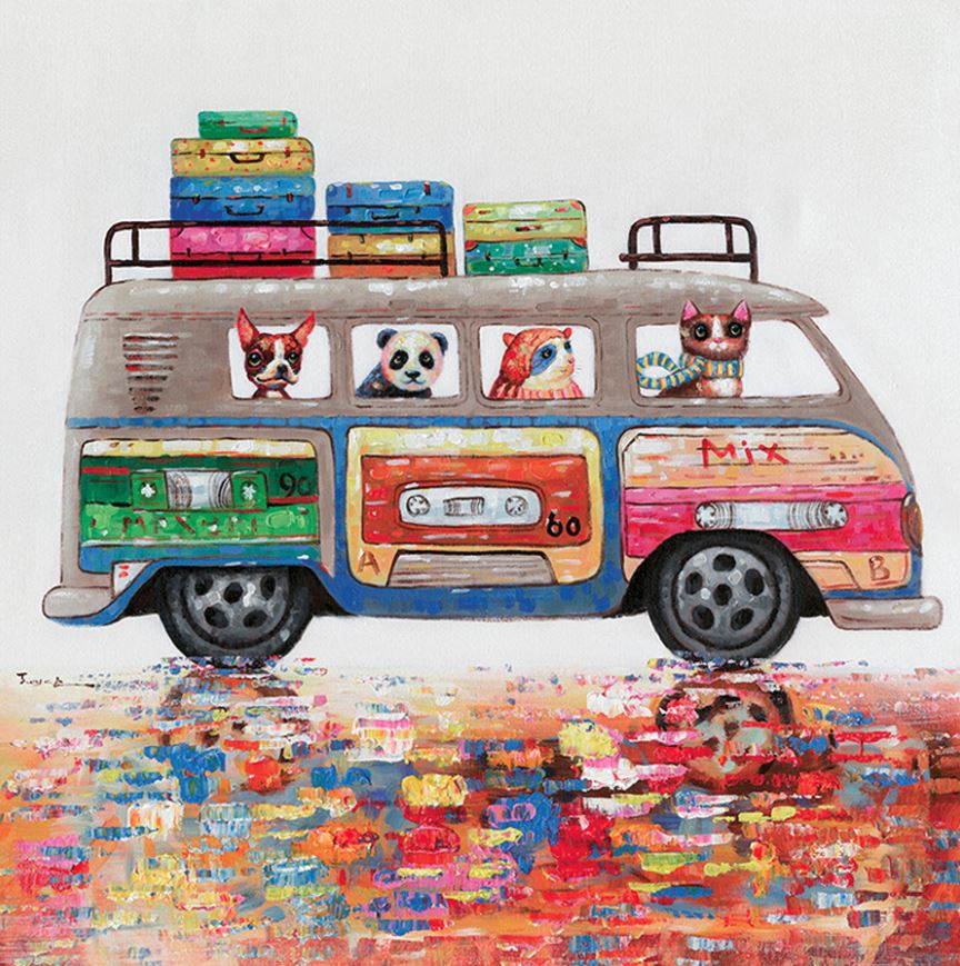 schilderij vrolijke dieren 80x80