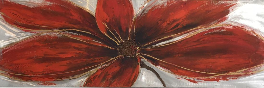 schilderij bloem metaal 50x150