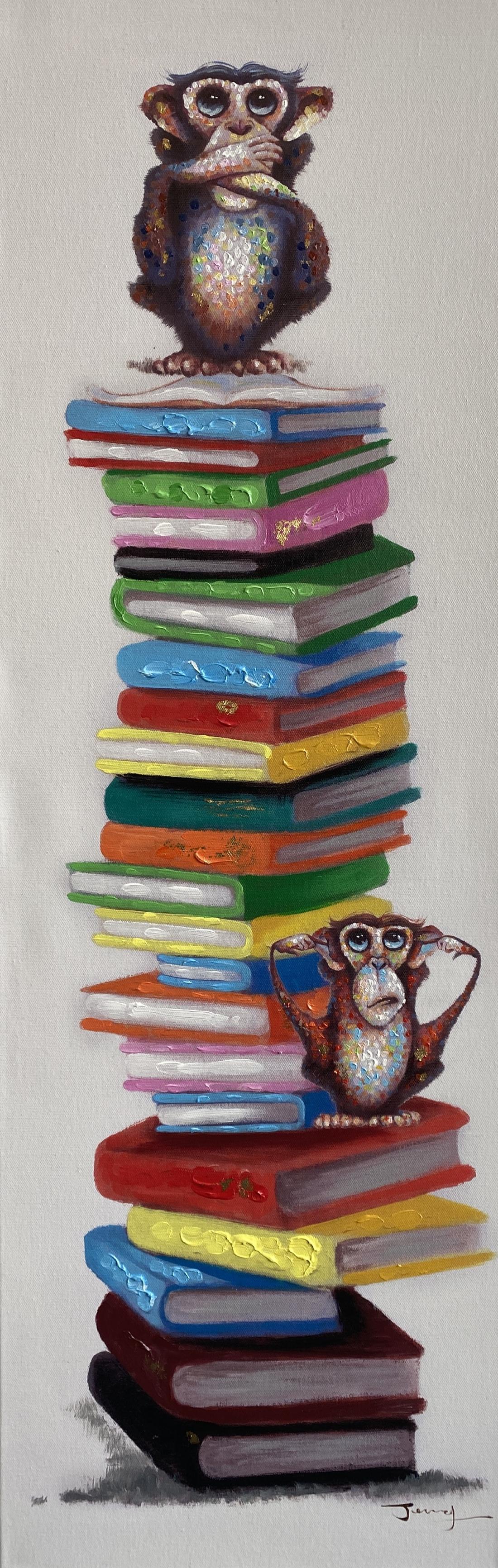 Schilderij aap met boeken 40x120