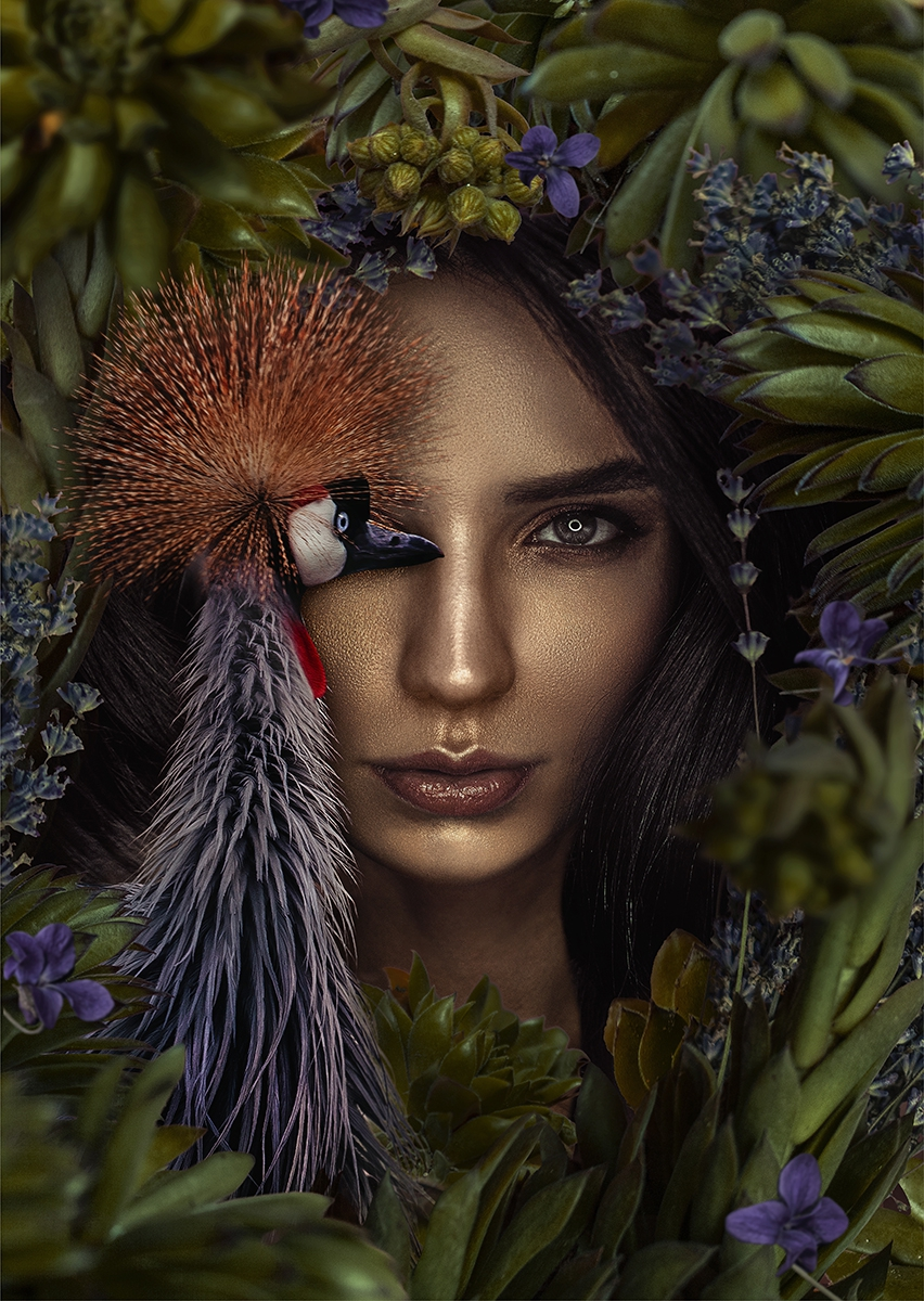 Peacock lady op glas 70x100