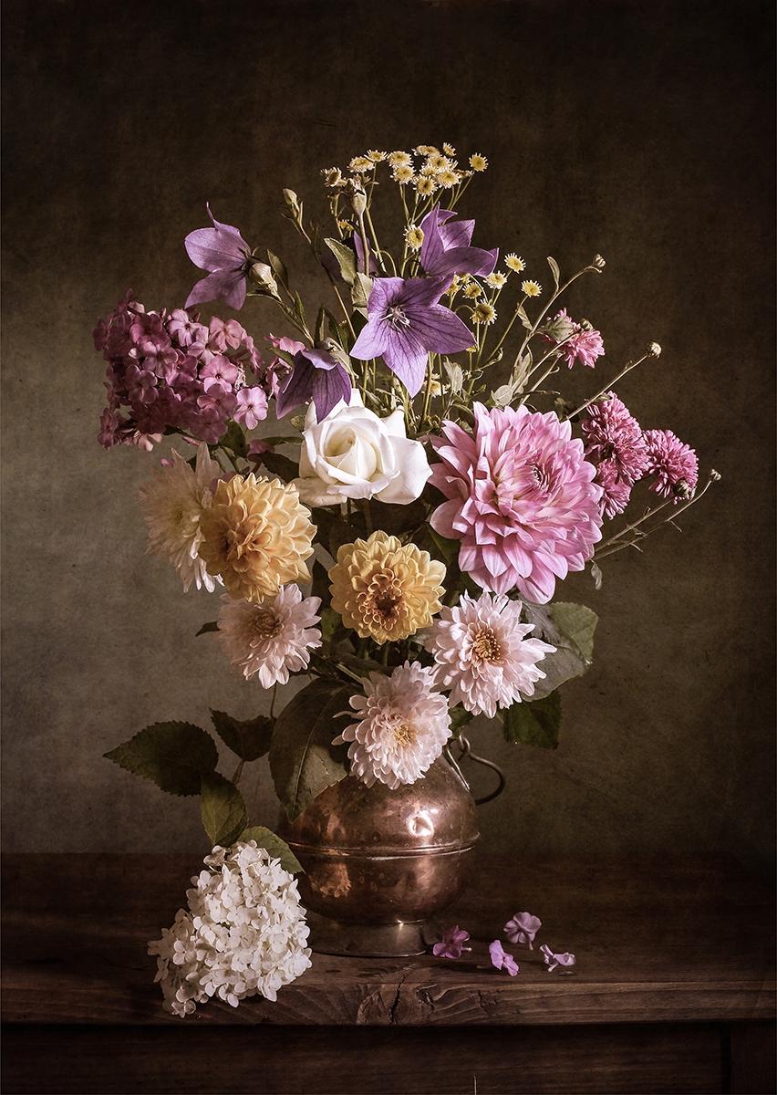 Flower bouquet op glas 70x100