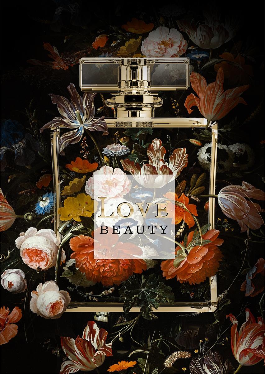 Parfume with flowers III op glas 70x100
