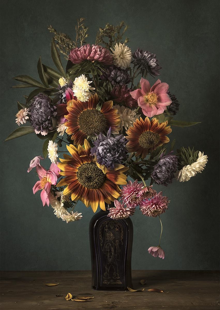 Flower bouquet I op glas 70x100