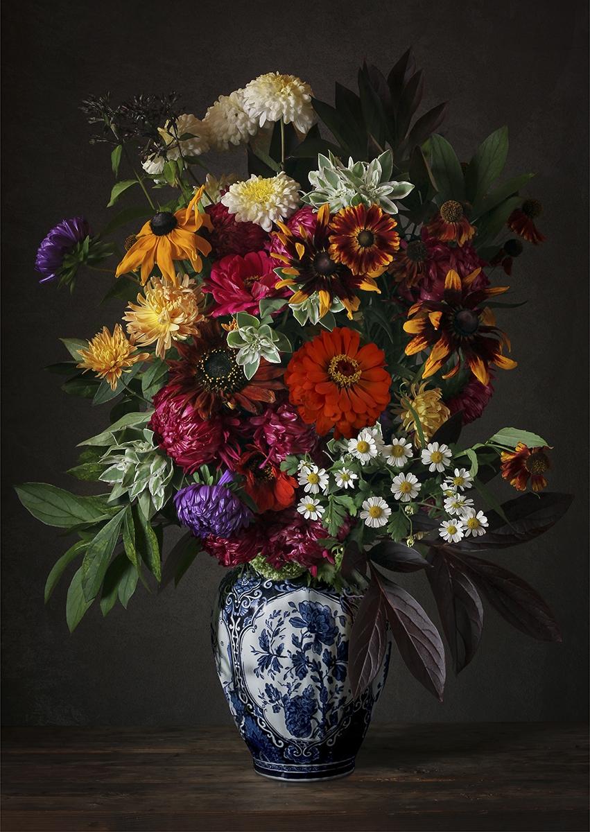 Flower bouquet II op glas 70x100