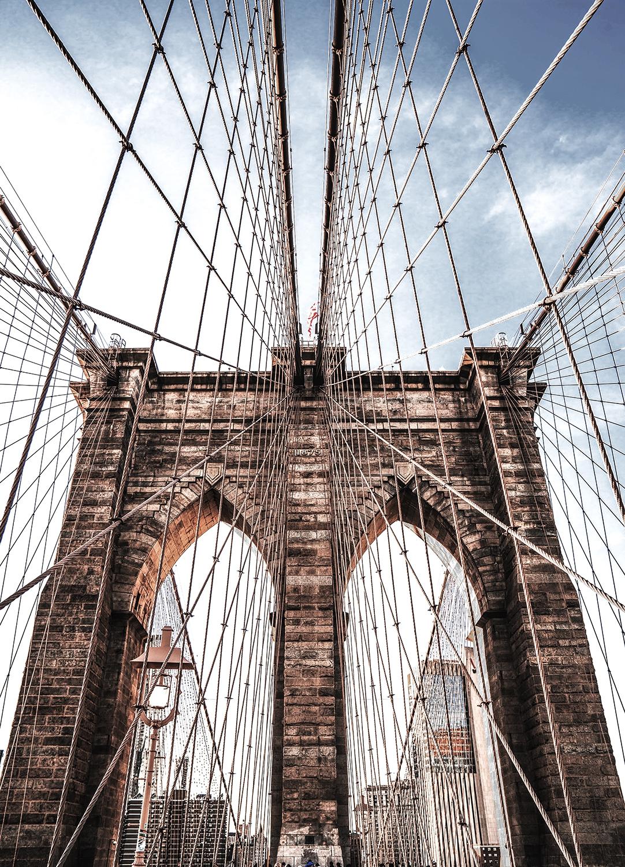 Brooklyn bridge op glas 50x70