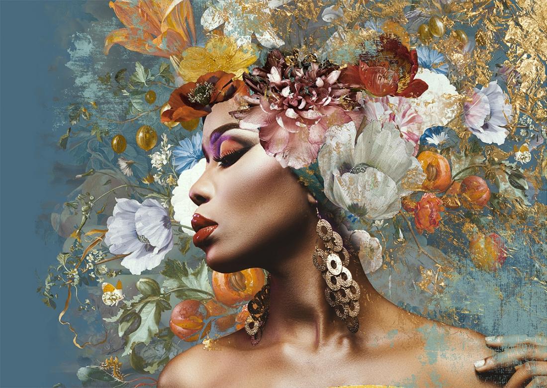 Woman with flowers II op glas 70x100