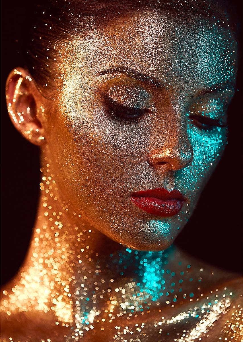 Glitter woman op glas 70x100