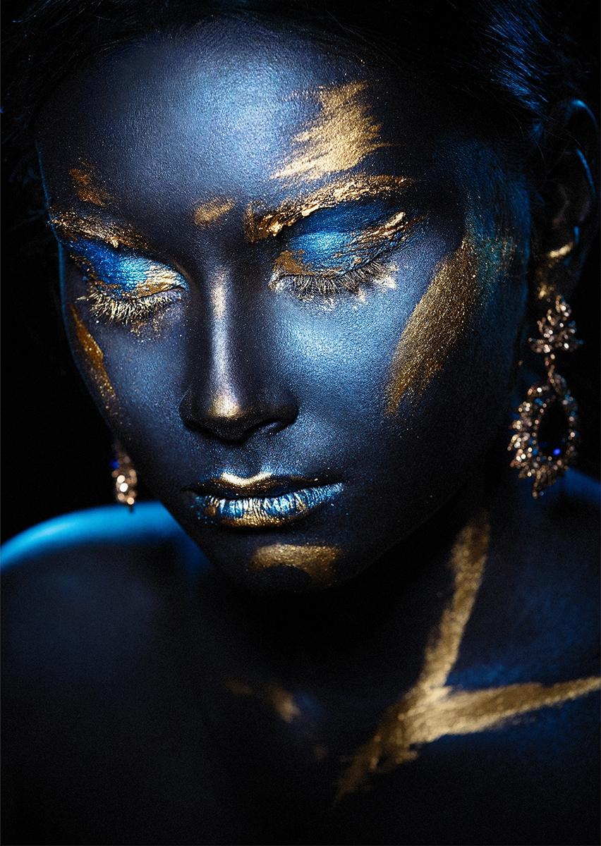 Blue beauty op glas 70x100