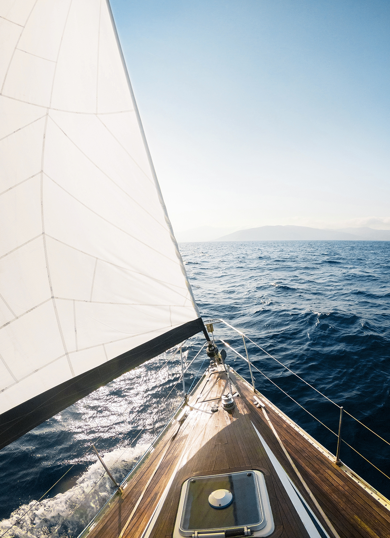 Fotokunst zeilboot op glas 50x70