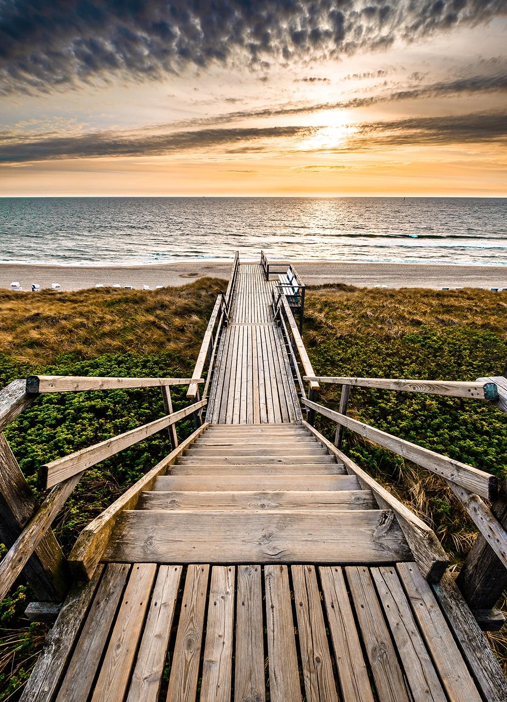 Fotokunst magisch strand op glas 50x70